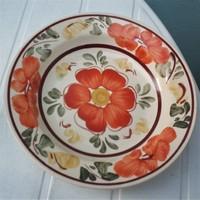 Kézifestett  porcelán fali tányér visszafogott matt színek FS jelzés