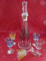 Francia kristály likőrös készlet, színes üveg és öt pohár - VMC Reim.