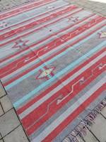 Hibátlan Indiai kilim kézi szövésű új szőnyeg.   304x244cm