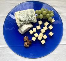 Hatalmas méretű, gyönyörű kék kerek üveg lap tálaló, tányér 4 db