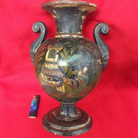 Johann Maresch Majolika Faience Váza,Karaffa Váza 33 cm