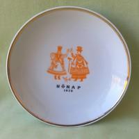 Retró Hollóházi Porcelán tányér, dísztányér 1973 Nőnap
