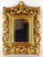 1E094 Antik kisméretű faragott florentin tükör