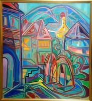 Kozma István - Nagybánya 75 x 68 cm olaj, vászon 1996