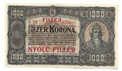 1000 korona / 8 fillér 1923 Eredeti állapot gyönyörű