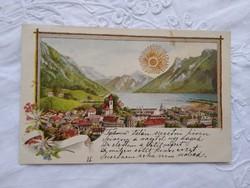 Antik/szecessziós, litho/litográfiás, dombornyomott, aranyozott tájképes lap kora 1900-as darab