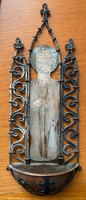 Szenteltvíztartó - Szent István király, festett lemez, réz