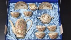 Zsolnay dúsan festett Perzsa mintás mokkás készlet