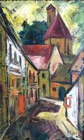 HEGYI GYÖRGY /1922 - 2001/: Szentendrei utca,kerettel : 97 x 66 cm,olaj-vászon