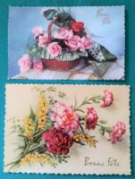 2 darab virágos,külföldi képeslap