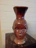 Kedves fej formájú jelzett füles kancsó, váza