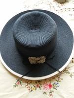 Új sötétkék kék díszes szalmakalap 58cm kalap nyárra