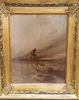 Homokviharral küzdő tevehajcsár, olajfestmény