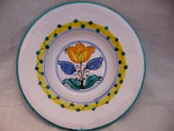 Habán tulipános szignált régi Képcsarnokos fali tál, tányér