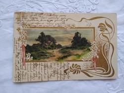 Antik/szecessziós, litho/litográfiás, dombornyomott, aranyozott tájképes lap 1904