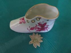 Lila Apponyi mintás, Herendi porcelán kis cipő