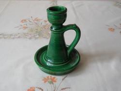 Korondi jellegű zöld kerámia gyertyatartó