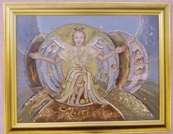 Angyal olaj-vászon festmény, MAROSI ILONA kortárs képzőművész alkotása.