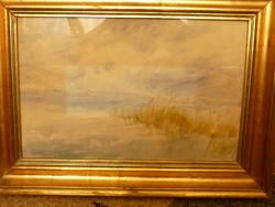 Eladó Munkácsy-díjas Elekfy (Kirchner) Jenő: Nádas című akvarell, Képcsarnokos festménye