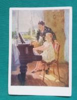Orosz,romantikus alkotás képeslapon,Kislány a zongoránál,postatiszta