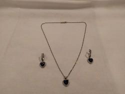 1,-Ft 925 női ezüst ékszer szett,lánc,medál,füli