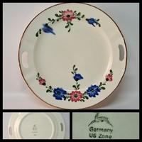 Virágmintás US Zone porcelán süteményes kínáló tál (1693)