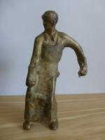 Eredeti,retro,dunaújvárosi öntött réz,kohász szobor,öntödei munkás szobor