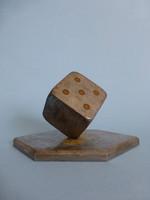 Extrém ritka art deco dobókocka alakú vas levélnehezék,íróasztal dísz,Horst Poser terve