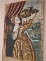 Nő kezében gyümölcs kosárral