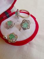 Gyönyörű valódi smaragd  köves 925 ezüst szett, gyűrű 54-es