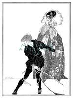 Shakespeare Hamlet szecessziós illusztráció reprint nyomat J. A. Austen 1922 királynő párbaj dráma