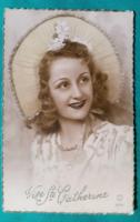 Bájos női arc,külföldi képeslap,1950,használt