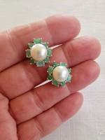 Csodálatos valódi igazgyöngy smaragd  kövekkel  925 ezüst fülbevaló