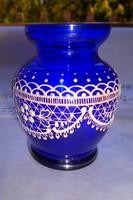 Parádi jelzett csipke üveg antik ibolya váza  -zománc festett díszítéssel