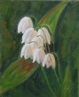 Antyipina Galina: Gyöngyvirág, olajfestmény, vászon. 30x25cm