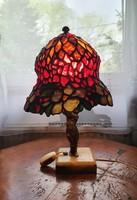 Antik Tiffany lámpa, bronz figurás, márvány talpon
