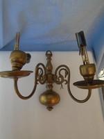 2 ágú hattyús bronz vagy réz falikar igazán igényes munka nagyon nehéz igazi antik darab..