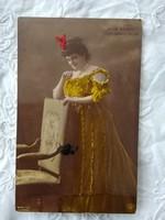 Antik kézzel színezett fotólap/képeslap Turcsányi Olga színésznő, Sterliszky műtermi fotója 1908