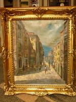 Eladó Munkácsy-díjas Benedek György: Mediterrán városrész című olajvászon festménye