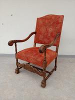 Antik dúsan faragott reneszánsz szék trónszék