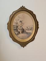 Antik selyemkép XIX. század vége,  Harmónia