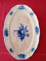 XIX. sz.i Mettlach-i kék-fehér ovális pecsenyés tál Villeroy Boch Saar- Baisin