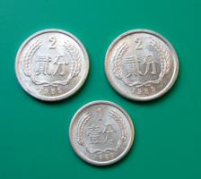 Kína – 3 db-os Lot - 1 Fen, 1983 & 2 Fen, 1985, 1989