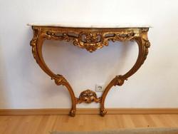 Barok-rokoko XVI.Lajos konzol  asztal  86x84x34cm márványlappal és egy tükör.