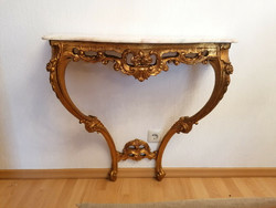 Baroque-Rococo xvi.Lajos console table with 86x84x34cm marble slab and a mirror.