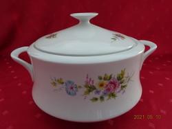 Alföldi porcelán, tavaszi virágmintás leveses tál, felső átmérője 20 cm.