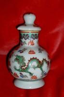 Kínai opál üveg sárkány motívummal illatszeres flakon csavaros tetővel