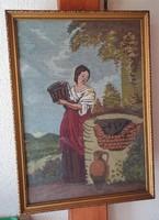 Vízhordó lány, gobelin üvegezett keretben, hibátlan  48x68 cm