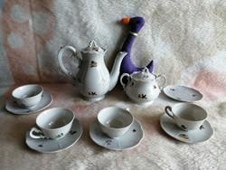 21174A11 Zsolnay nagyon ritka mintás barokk kávéskészlet