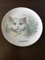 K M Austria macskás fali tányér dísztányér perzsa macska macskás cicás